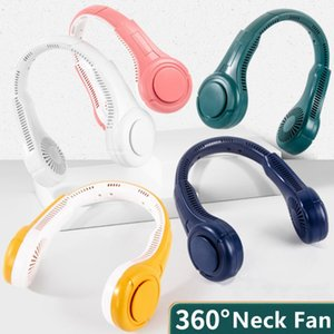 Electric Fans Porous Hanging Neck Fan Sports Lazy Portable Mini No Leaf Usb Mute Neckband 3 Speed Double