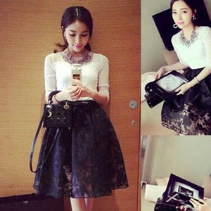 Womens Skirt Women Summer Lace Solid Double Layer Chiffon A line Pleated Retro Elastic Waist Long Black Casual