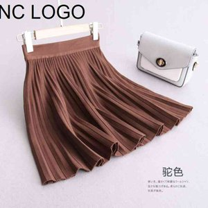 Casual A-line Pleated Mini Knit 2021 Autumn And Winter New Sweater Short Skirt Female Girl skirts for women