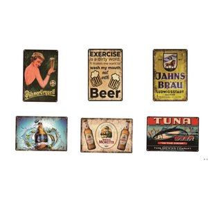 Ice Cold Beer Metal Sign Poster retro metal tin sign Drink Restaurant Pub Cafe Bar Club Garage Party Vintage Wall Decor Cheers HWB6146