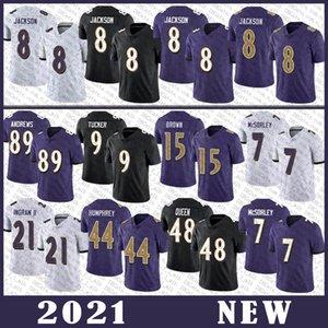 8 Lamar Jackson Football Jersey 89 Mark Andrews 9 Justin Tucker 15 Marquise Brown 44 Marlon Humphrey 7 Trace Mcsorley 48 Patrick Queen BaltimoreRaven genäht