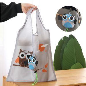 لطيف الكرتون البومة قابلة لإعادة الاستخدام حقيبة تسوق السفر أكياس بقالة طوي حمل حقيبة يد المرأة صديقة للبيئة مطبخ أكياس التخزين 917 B3