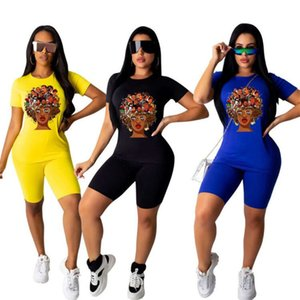 Plus size 2XL Summer women short sets two piece set short sleeve T-shirt shorts cartoon print outfits casua black tracksuits joggers 3419