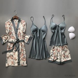 Womens Sleepwears Summer Satin 4 Pieces Robe Sets Faux Silk Kimono Pajamas For Women Flower Sexy Plus Size Nightgowns Sleepshirts