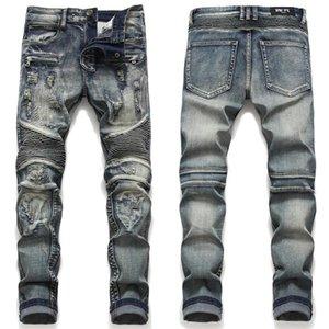 Мужские джинсы мужские высококачественные байкер огорчены разорванные джинсовые брюки, поцарапанные заплатыт моторные мужчины синий