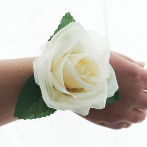 6pcs   Silk Rose Head Wedding Party Bride Wrist Decoration Bridesmaid Flower Chest Wreath Decorative Flowers & Wreaths