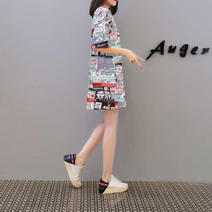 Dresses brand Casual women's clothing summer letter digital printing Fashion large size loose short sleeve T-shirt