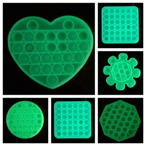 In Stock Glow In The Dark Push Pop It Fidget Toy Sensory Bubble Squeeze Toys Anxiety Autism Special Needs Stress Reliever Table Game G22401