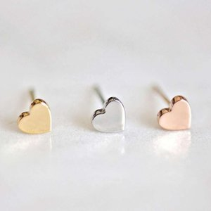 Custom Simple Fashion Minimalist 316 L Stainls Steel Jewelry Love Heart Shape Cute Small Stud Earring 14k Gold Plated