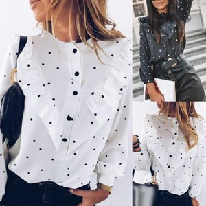 Office Lady Polka Dot Print Long Sleeve Blouse Cuff Tied Button Ruffled Shirt harajuku accessories verao 2021 feminino