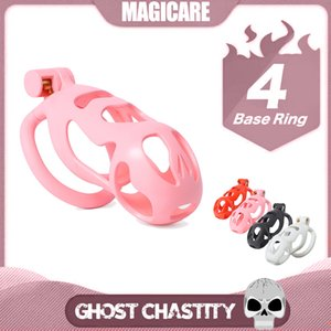 5 Size Plastic 4 Color Ghost Cock Cage 4 Penis Ring Lock Sleeve Set Male Chastity Belt Device