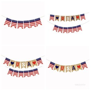 Banner Flags Swallowtail Banners Independence Day String Flags USA Letters Bunting 4th of July Party Decoration T2I52242