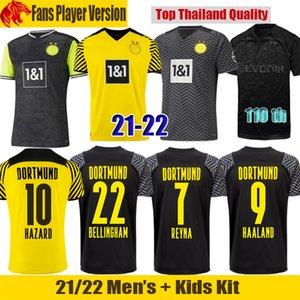 21 22 Dortmund camiseta de fútbol Borussia 2021 2022 HAALAND REUS NEONGELB BELLINGHAM camiseta SANCHO HUMMELS BRANDT Hombre Jersey kit para niños