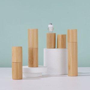 3ml 5ml 10ml Full natural bamboo Essential Oil Roller-ball Bottle Clear Glass Roll On Perfume Bottles Stainless Steel Rollers Ball