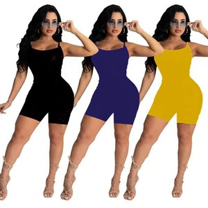Women sexy Jumpsuits spaghetti strap rompers letter print sleeveless onesie summer clothing solid color bodysuit bodycon one piece pants Plus size
