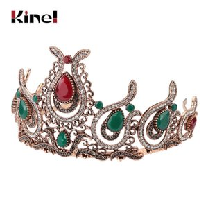 Kinel Retro Crown Hairbands Women Kid Turkish Hair Barrette Accessories Princess Queen Cabelo Headwear Headwrap Wedding Jewelry
