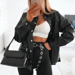 Autumn Fashion Women Black PU Leather Coats Street Style Lady Turn down Collar Buttons Jackets Long Sleeve Outerwear with Pocket
