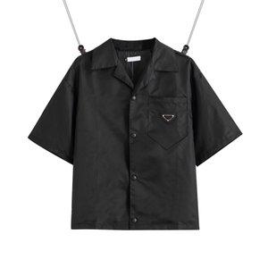 2021 Vereinigte Staaten von Vereinigten Staaten European Womens and Herren Hemd Lässige Marke Kurze Blusen Klassisches Umkehrendes Dreieck Lose Importierte hochwertige Nylon-Werkzeug-Sommer-Tops