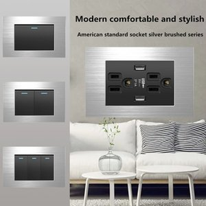 socket are of good quality and more durable, 15A American standard silver brushed 110v Taiwan six-hole with USB wall power switch panel