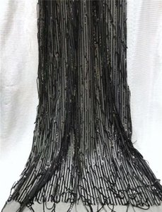Ribbon African French Lace Fabric With Sequins High Quality Tulle 5yards Black Sequin J5Y