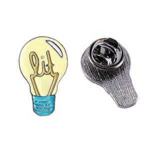 Badge Lovely Alloy Light Bulb Enamel Brooch Lapel Pin Denim Jeans Shirt Bag Cartoon Fashion Jewelry Kids Gift