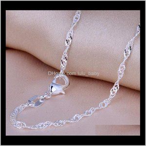 "Necklaces & Pendants Drop Delivery 2021 Top Quality Water Wave Singapore Necklace Chains With Lobster Clasps 16""-30"" Women Sier Plated Chain"