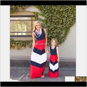 Наряды EST летняя полоса Maxi и семья выглядят подходящим матерью дочь одежда платья LDGQ ZGOKC