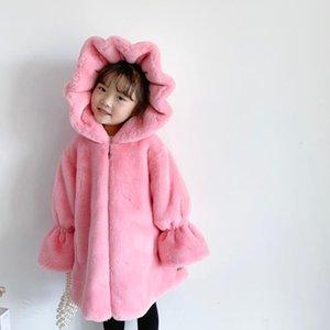 Cute Fashion Winter Baby Girl Fur Coat Long Jacket Hooded Parka Children Faux Girls Coats Kids Plus Size Jackets
