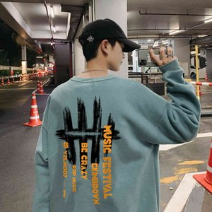 Perth Fashion Letter Print Round Neck Sweater Lovers Loose Size Sportswear Trend Men's Long Sleeve Top