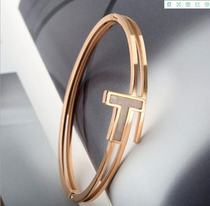 T word rose gold ring bangle love bracelet trend simple European and American manufacturers wholesale