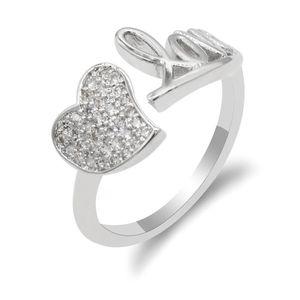 Wedding Rings Metalmadman Open Romantic Style Letter Heart Shpe Copper Finger For Women Adjustable Size Ring Fashion Jewelry Gift