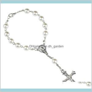Браслеты очарования ювелирные изделия 8 мм жемчужины бусины католические розарий женщины религиозное христианство Девы Мэри Иисус пересекает браслет окрашиваний