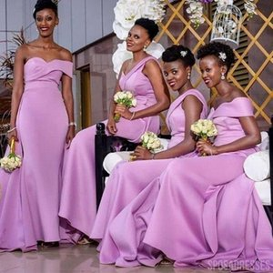 2021 Beautiful Lavender Off Shoulder Bridesmaids Dresses South African with Cap Sleeves Satin Mermaid Plus size Prom Evening Party Dress