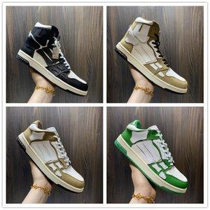 2021 أحذية ميري الهيكل العظمي العظام عارضة الأحذية المنخفضة أعلى الرجال النساء المرأة سلة تشغيل أسود أبيض جلد الدانتيل يصل المدرب أعلى جودة حجم US5.5-US11 مع مربع.