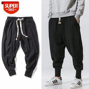Chinese Style Harem Pants Men Streetwear Casual Joggers Mens Cotton Linen Sweatpants Ankle-length Trousers M-5XL #Sh1K
