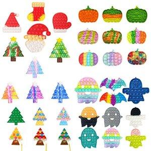 Fidget Toys Christmas Halloween Pumpkin Ghost Tree Stocking Mitten Shape Push Bubbles Tie Dye Xmas Santa Clause Hat Caps Finger Puzzle Decompression Toy