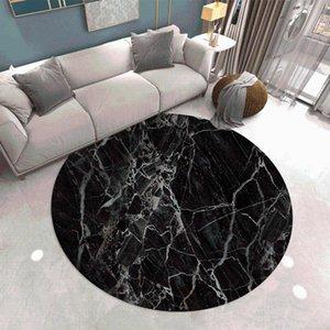 Carpets Marbling Pattern Round Carpet Lotus Chair Floor Mat Soft For Living Room Anti-slip Rug Bedroom Decor