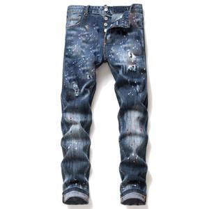 Мужские мужчины Джинс разорванные джинсы разрывов растягивающиеся черные моды Slim Fit промытые мотоцикл джинсовые брюки панели бедра хип хмель б6
