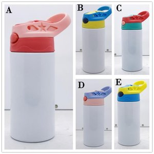 Straight Mugs 12oz Sublimation Sippy Cup Stainless Steel Blank DIY Water Bottle Tumbler With Straw Lid Flip Top Bottles