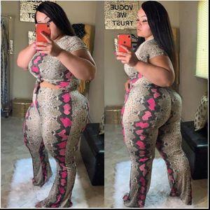 플러스 사이즈 Womens Tracksuits 2 조각 Jumpsuit Snakeskin 인쇄 반팔 자르기 탑 넓은 다리 바지 세트 특대의 복장