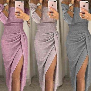 Elegante Abend formale Kleider 2021 Frauen HIP-bedeckte Schlitz One-Linie Kragen Kleid Funkelnde Dinner Designer WWOMens
