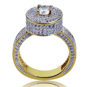 Mens Hip Hop Ring Jewelry 18K Gold Plated Fashion Gemstone Simulation Diamond Iced Out Rings For Men 1658 T2