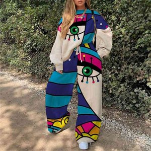Women tracksuit fitness two pieces set Large Size long sleeve trousers crop top Printing stitching elastic skinny leggings sportswear tracks