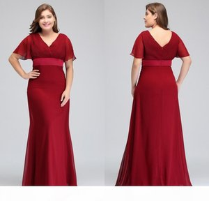 2018 New Cheap Dark Red Plus Size Occasion Dresses with Short Sleeves V Neck Pleats Chiffon Formal Evening Prom Gowns CPS715