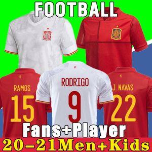 2021 Espagne Jersey Soccer Jersey Ramos Pique España Home Football Shirt 20-21 Asensio Morata Isco Iniesta Away Uniforms Hommes + Enfants