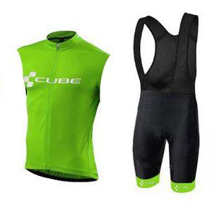 Cube Pro Team Team Cycling Sans Sans Jersey Gilet Breakfast Shorts de bretelles Ropa Ciclismo Hommes Vélo Maillot Culotte Porter H040210