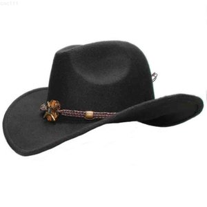 Big Large Plus Size Vintage Women Men Wool Wide Brim Cowboy Western Hat Cowgirl Formal Bowler Cap Wood Knitted Bead Band 61cmQJN6{category}
