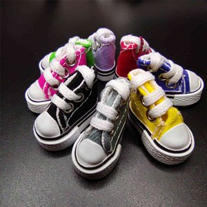 Key Chain 8 points BJD cloth doll simulation canvas board accessories finger dance small shoes 3.5cm