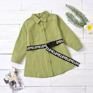 Girls Shirts Kids T Shirt Spring Autumn Cotton Long Sleeve Dress Belts Baby Clothing Children Wear 2-6T B4627