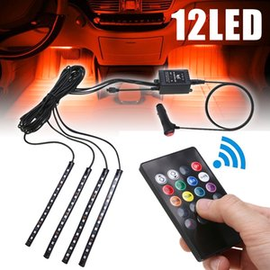 22cm Multicolor music+remote control Flexible Car LED Strip Lights Interior Decorative Atmosphere Neon Lamp LED Wireless Remote light